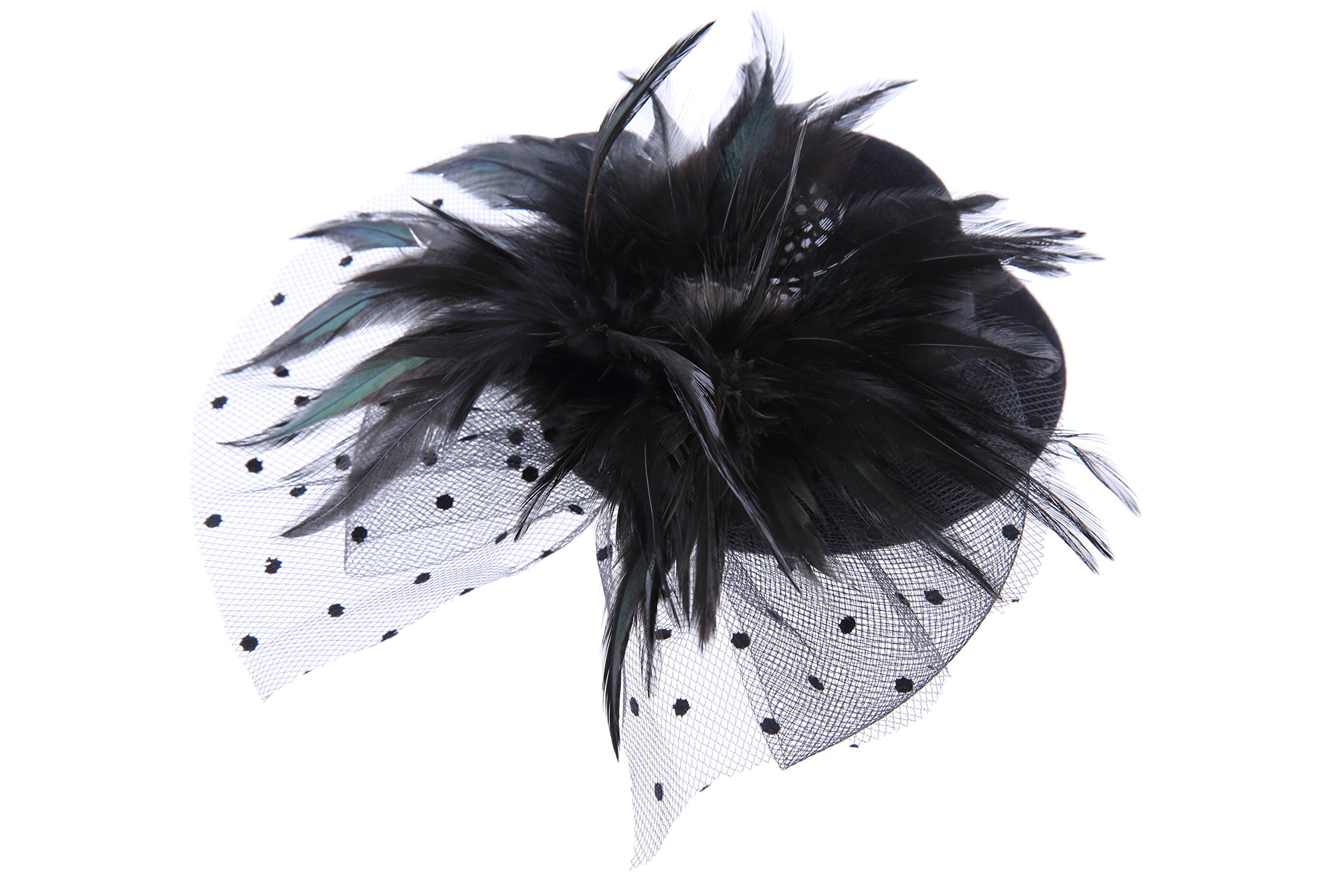 VGLOOK Mini Top Hat Fascinator Feather Dotted Veil (Black)