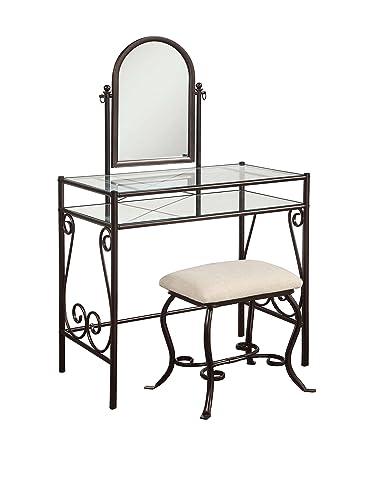Linon Clarisse Metal Vanity Set, 52.4 x 31.8 x 18.3 , Dark