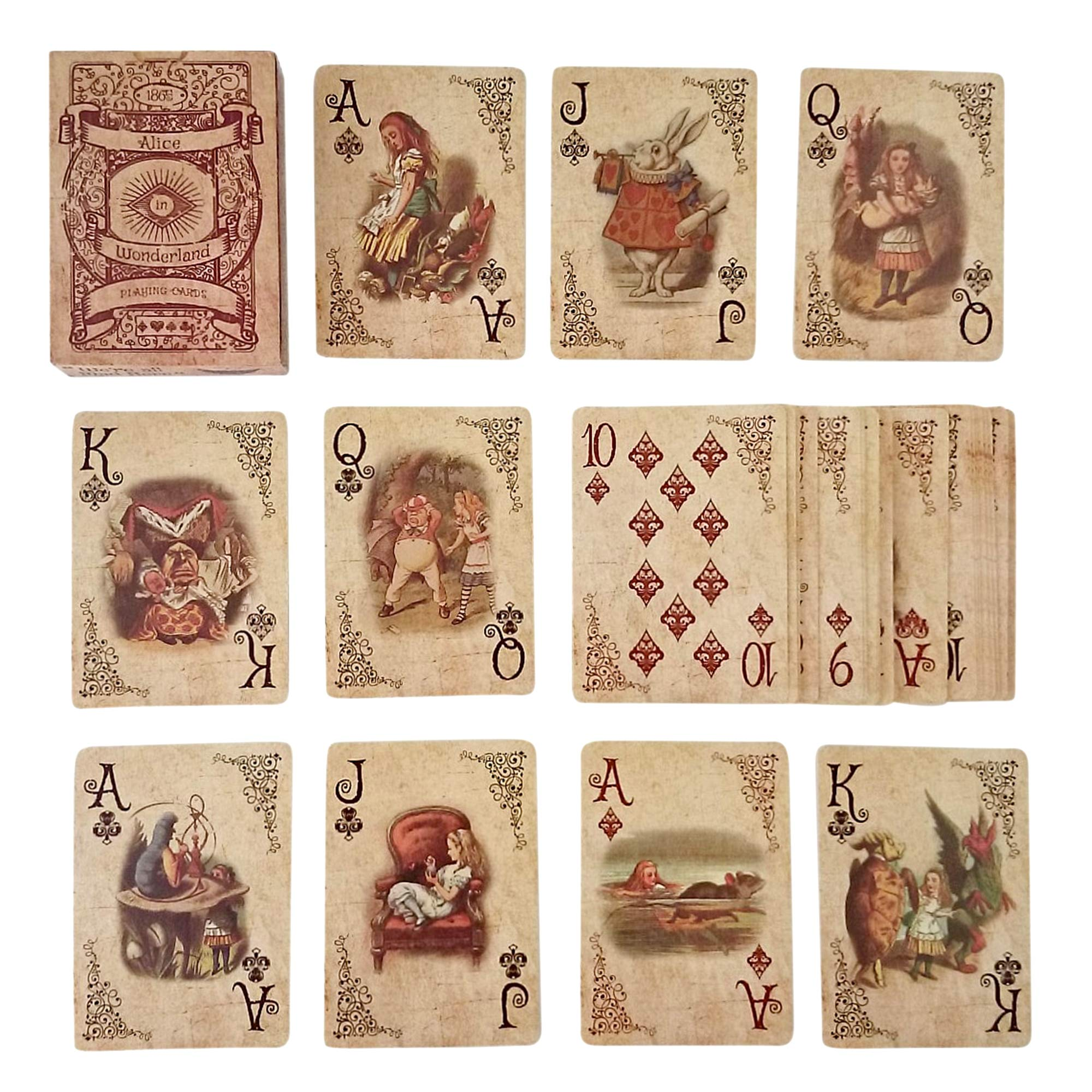 ASVP Shop Alice In Wonderland Playing Cards - Full Set is Ideal for Themed Parties, Props, Theme, and Games by ASVP Shop