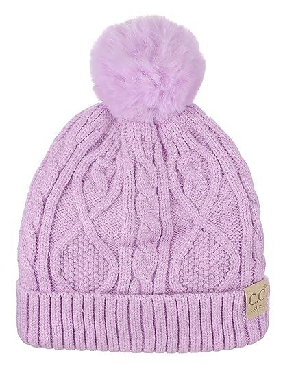 c21f70318f9 Amazon.com  C.C Kids  Children s Cable Knit Soft Pom Fuzzy Lined Cuff Beanie