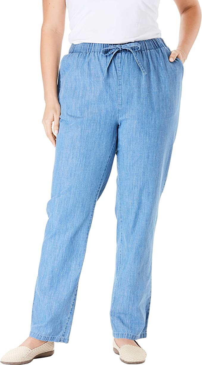 NWT New Pants Women Chambray Pant Denim Blue Relaxed Fit Basic Edition S Small