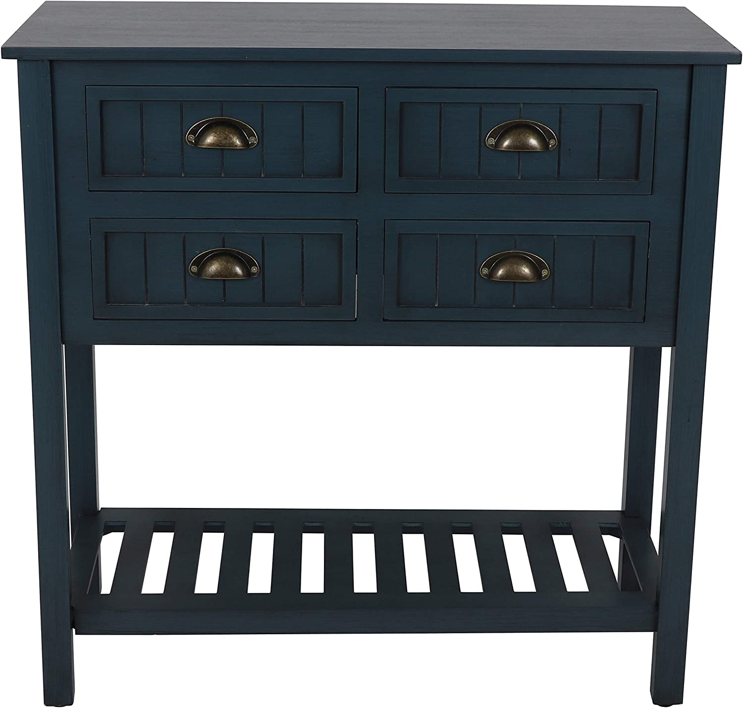 Decor Therapy Bailey Bead board 4-Drawer Console Table, 14x32x32, Antique Navy