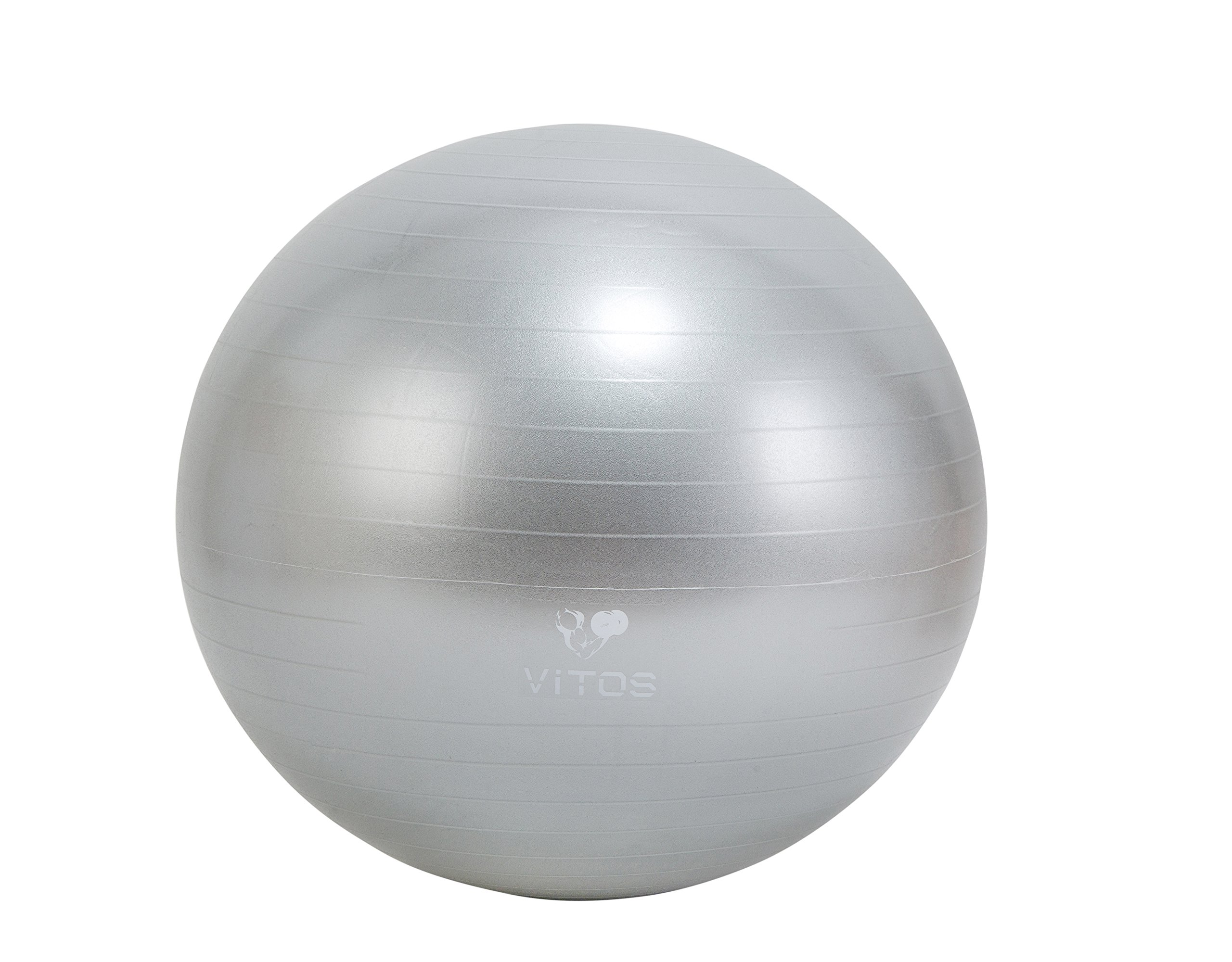 Vitos Fitness Anti Burst Stability Ball Extra Thick Non Slip Supports 2200LB for Fitness Exercise Birth Balance Yoga Workout Guide Quick Pump Included Professional Quality Design (Silver, 75 cm)