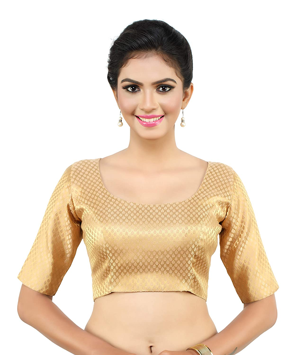 4b1feb40fc389d MADHU FASHION's Women's Golden Benaras Brocade Readymade Saree Blouse with  Round Neck and Elbow Length Sleeves: Amazon.in: Clothing & Accessories