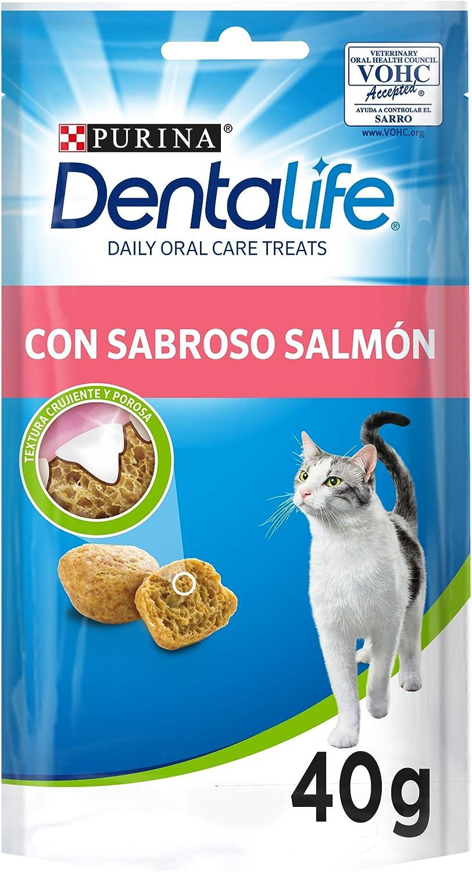 Purina DentaLife Snack Dental para Gato con Sabor a Salmón 8 x 40 g - 1 Pack