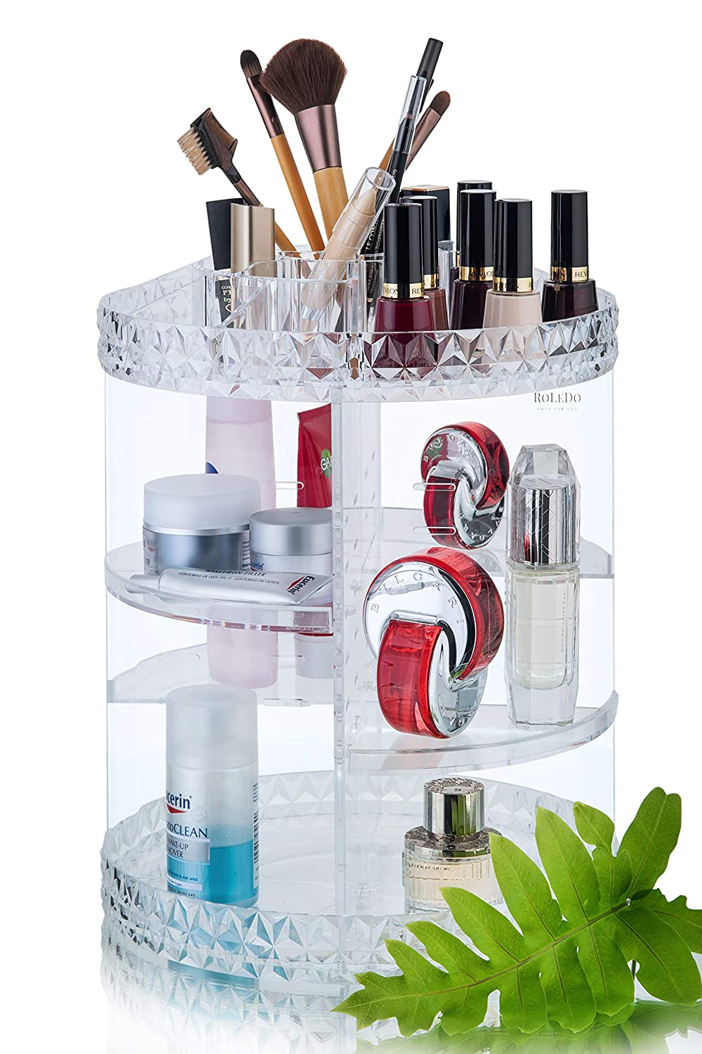 RoLeDo Makeup Organizer 360 Degree Rotating Crystal Adjustable Large Capacity Vanity Cosmetic Jewelry Storage Display Stand Tray Box Carousel Shelf Holder for Perfumes and Bathroom Clear, Acrylic