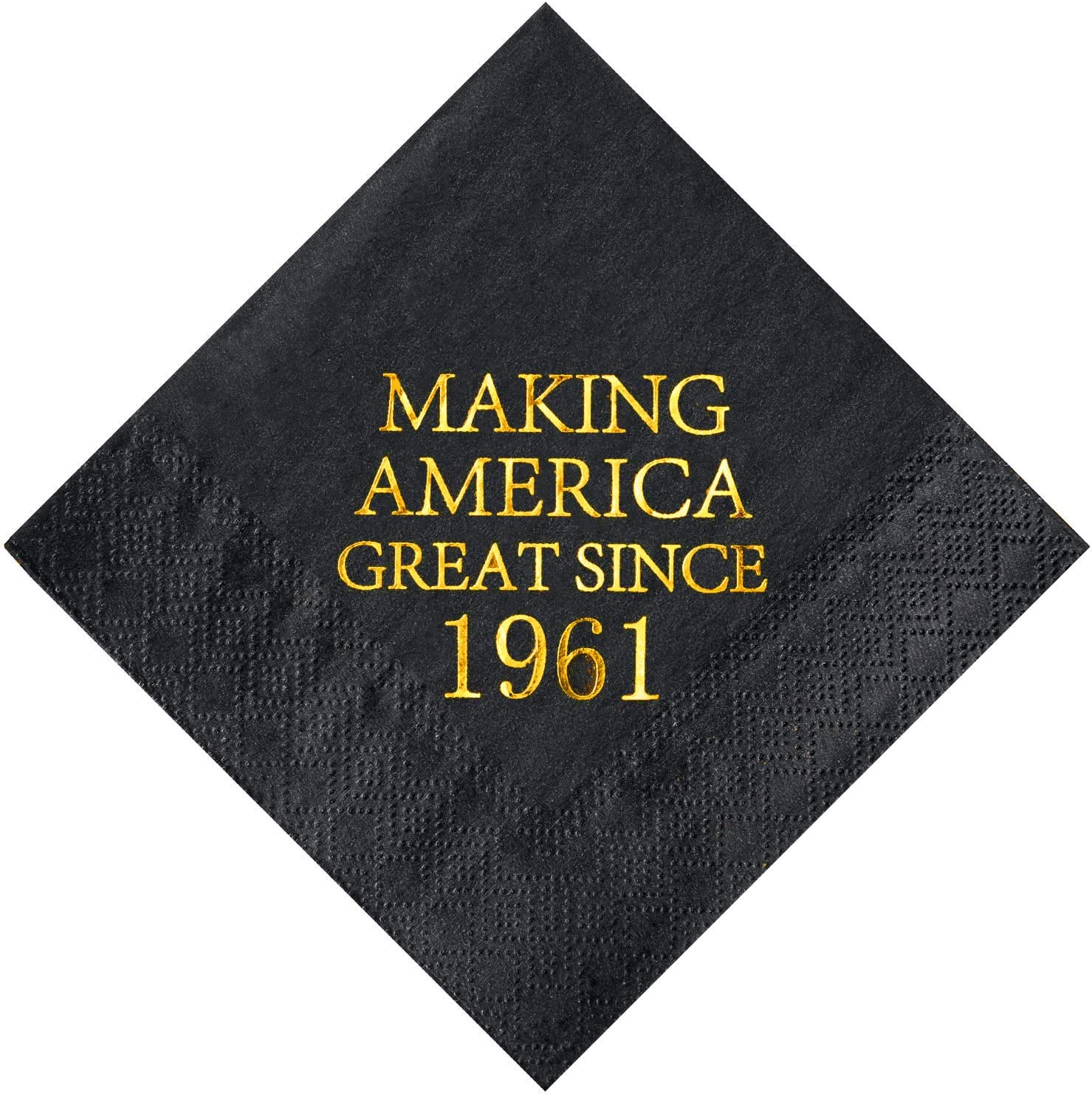 Crisky 60th Birthday Disposabel Napkins Black and Gold Dessert Beverage Cocktail Cake Napkins 60th Birthday Decoration Party Supplies for Man Making Great Since 1961, 50 Pack 4.9