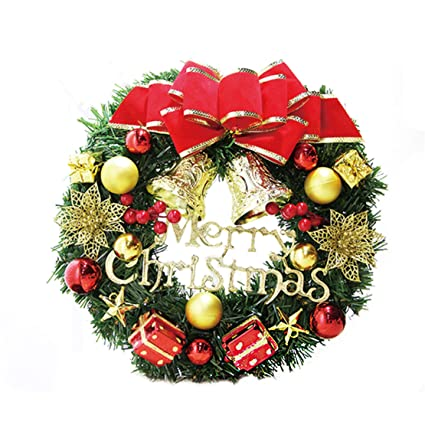 Happy Event Christmas Navidad Than ksgiving Deco Ornament | 30 cm Simulación ratán roja Flores Arco