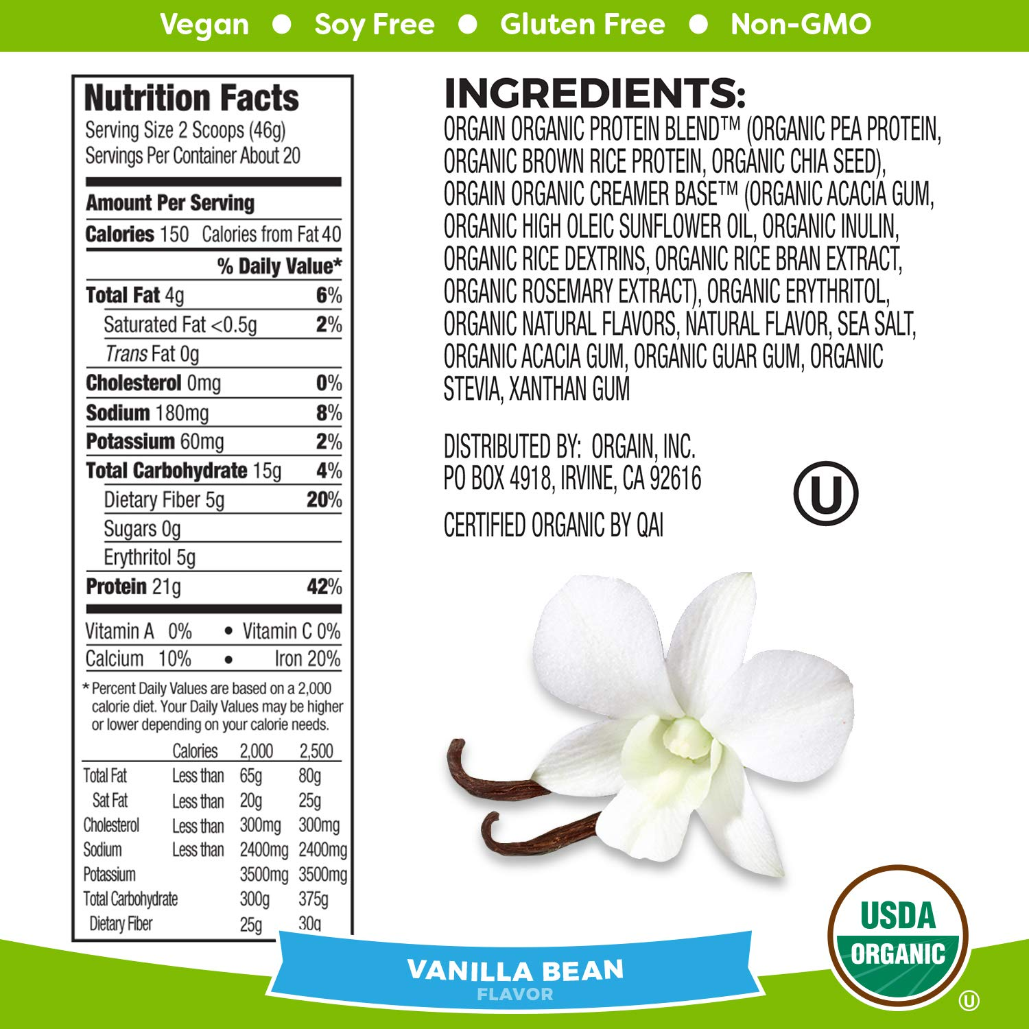Orgain Organic Plant Based Protein Powder, Vanilla Bean – Vegan, Low Net Carbs, Non Dairy, Gluten Free, Lactose Free, No Sugar Added, Soy Free, Kosher, Non-GMO, 2.03 Pound