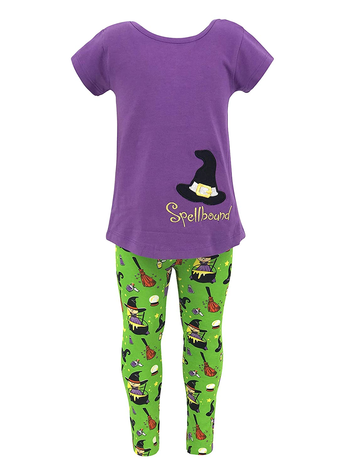 995138236e12f Amazon.com: Unique Baby Girls Spellbound Halloween Witch Shirt Legging  Outfit: Clothing