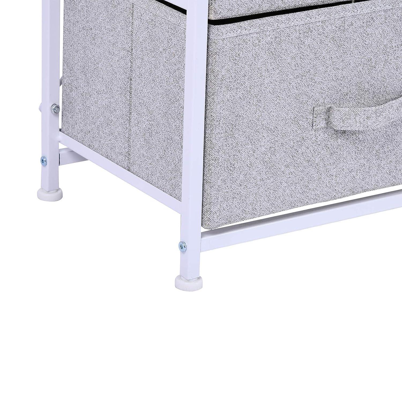 HOMCOM Mobile Contenitore con 4 Cassetti in Lino Pannello Telaio in Acciaio Verniciato a Polvere Ripiano Superiore in MDF Grigio Max:25 kg 45 x 30 x 92cm