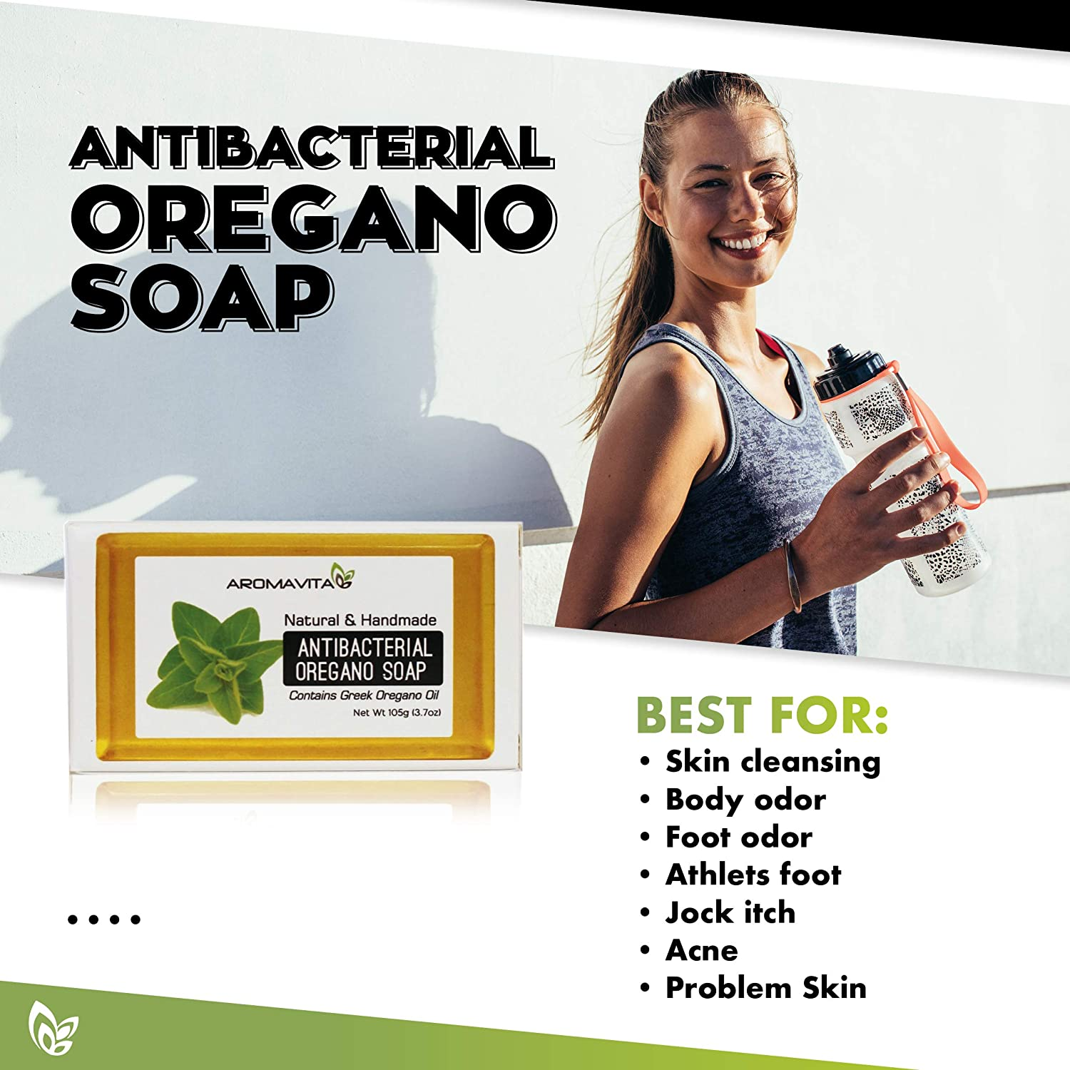 Aromavita Oregano Oil Soap – Natural Plant Therapy Hand Soap or Body Wash – Topical Therapeutic Skin Cleanser for Acne, Eczema, Foot and Nail Problems – 5 Pack