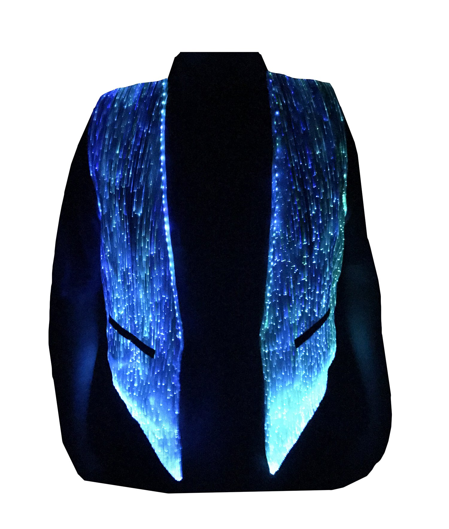 LED Fiber Optic Waistcoat Light up Vest for Men Fashion Glow in The Dark Luminous Vest (M, White)