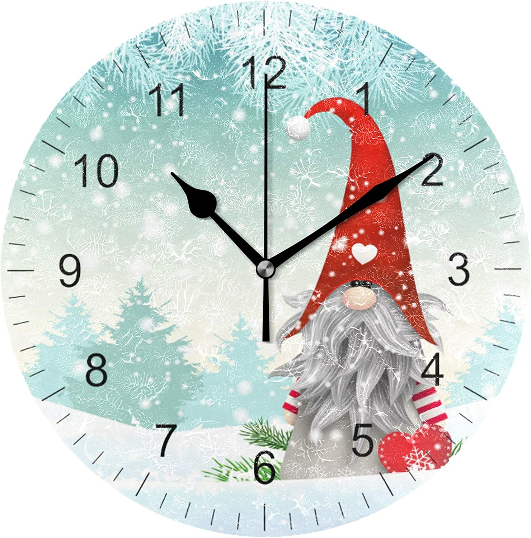 Wamika Merry Christmas Cute Gnome Snowman Wall Clock 10 Inch Winter Snow Snowflake Xmas Tree Jingle Bells Round Clock Silent Non Ticking Rustic Farmhouse New Year Home Kitchen Decorations Quartz Decor