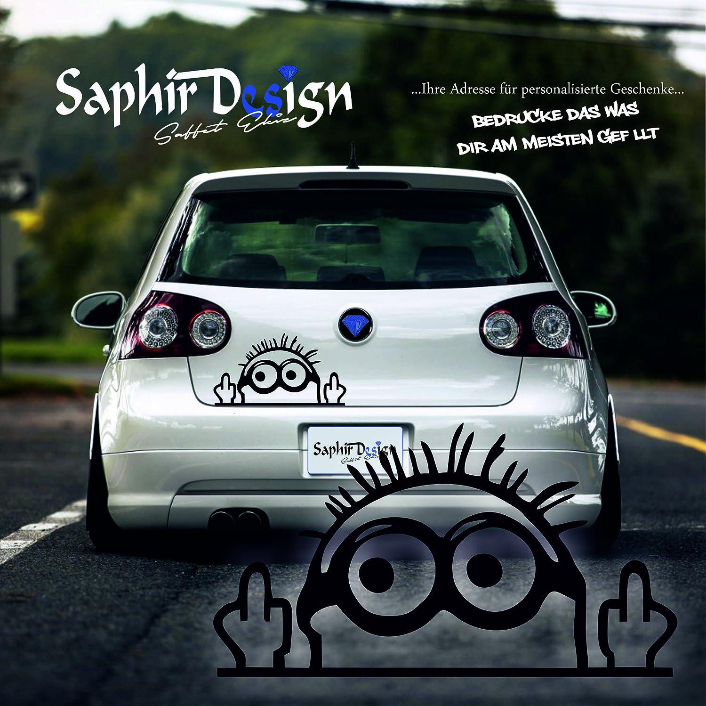 Saphir Design Cooler Minion Mittelfinger Minion Aufkleber Tuning Autoaufkleber A111 8x15cm Hochleistungsfolie In Der Farbe Weiß Küche Haushalt