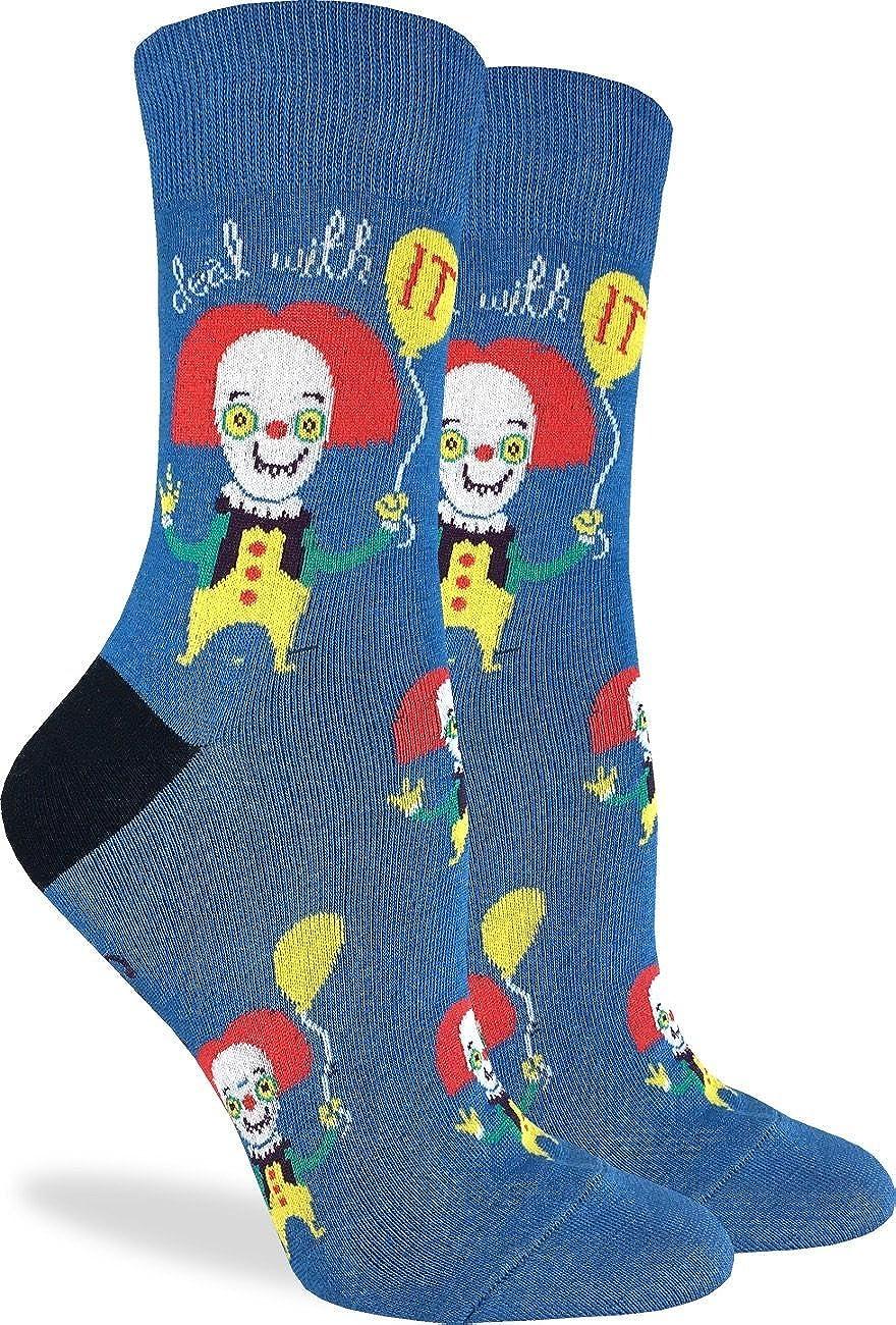 Good Luck Sock Women's Clown Socks - Blue, Adult Shoe Size 5-9 3151