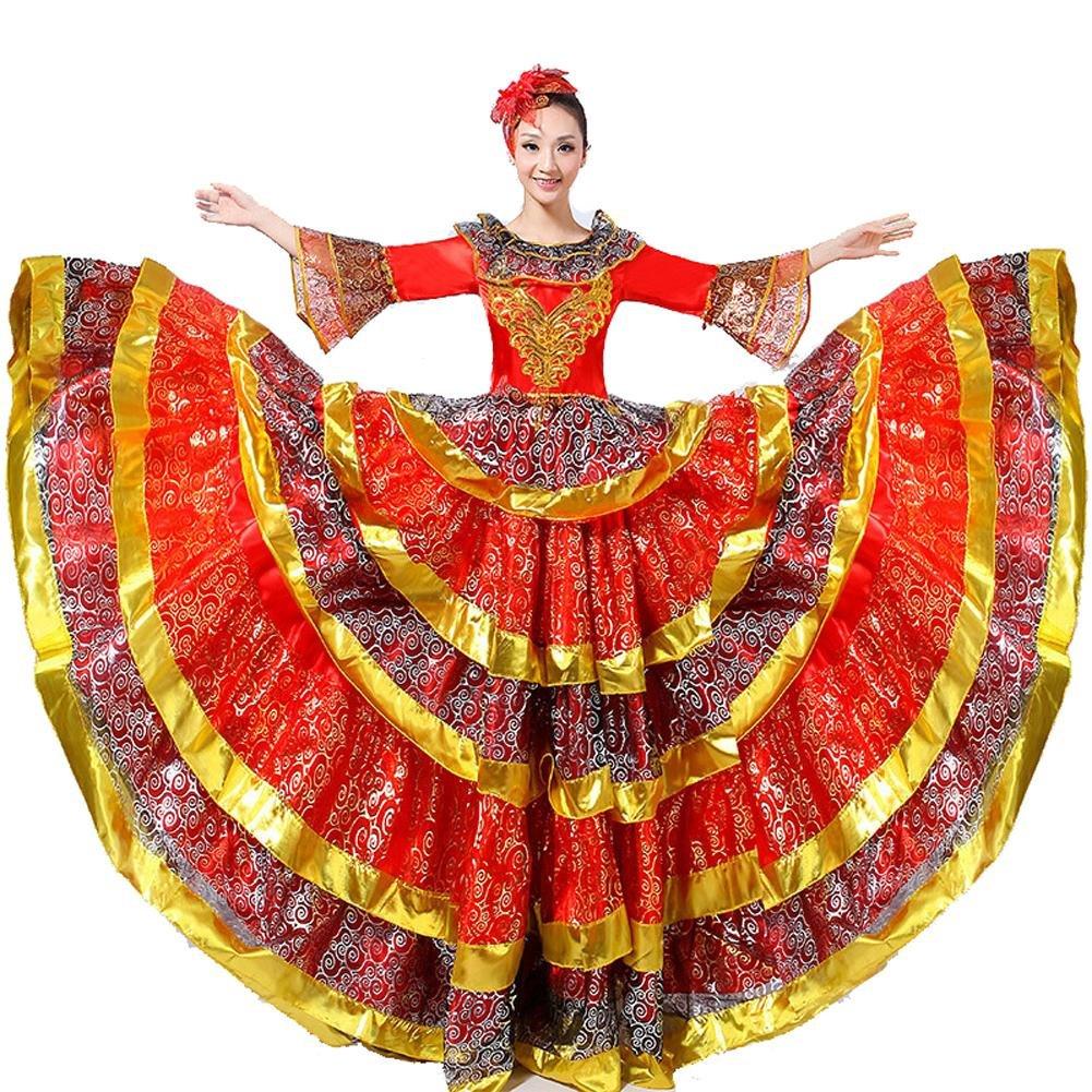 Rouge skirt 540 Wgwioo Femmes Adulte Robe De Flamenco Robes De Danse D'Ouverture Nationale Ambiance Scène Perforhommece Costume Big Swing 180 360 540 720 Chèvre Devert L