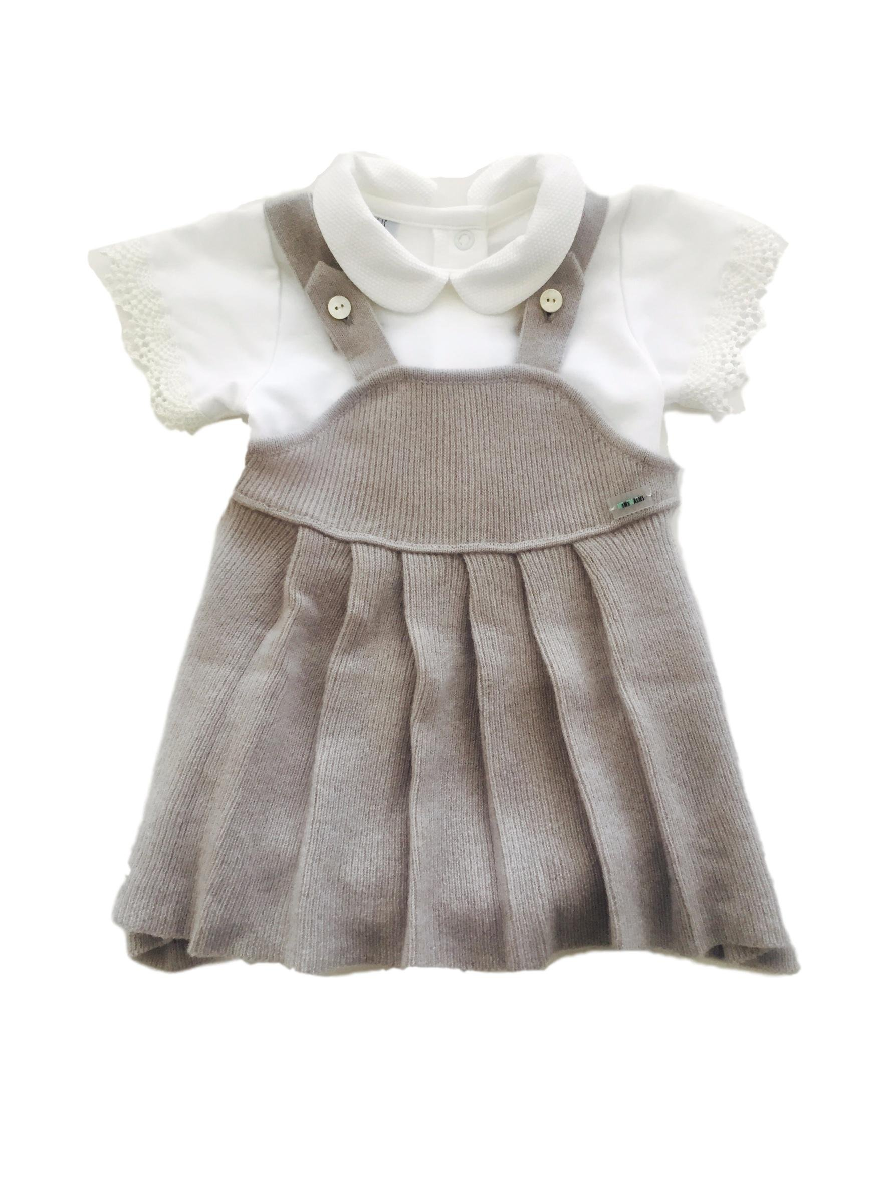 Minimains Baby Girls' Pure Cashmere Vintage Dress 1y Grey