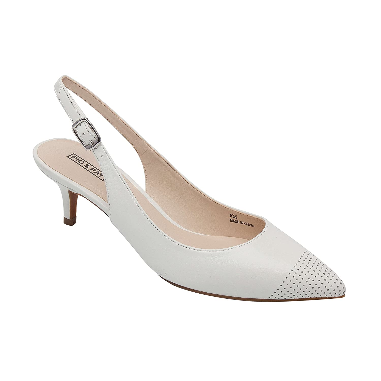 Hazel | Women's Low Heel Perforated Cap Toe Comfortable Slingback Pump B07B6C6R42 5 B(M) US|White Leather