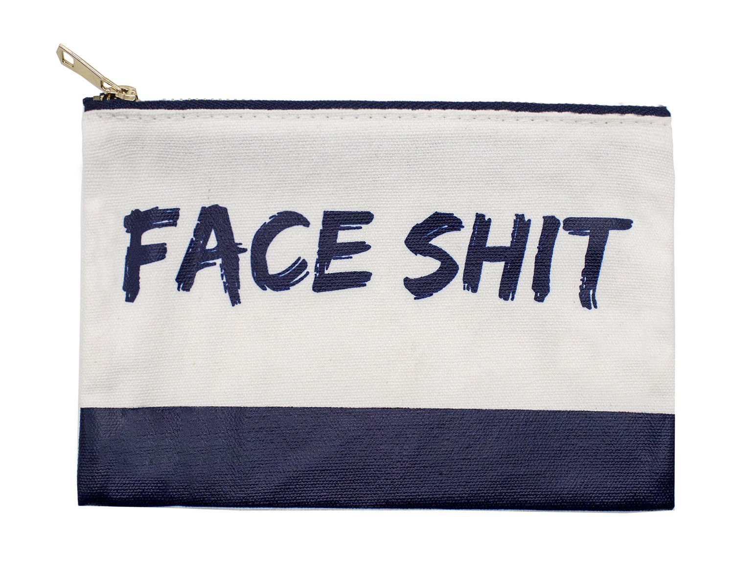 StylesILove Womens Girls 100% Cotton Canvas Stylish Print Travel Cosmetic Case Makeup Bag Black Multi-use Pouch with Bold Gold Zipper (Face Navy)