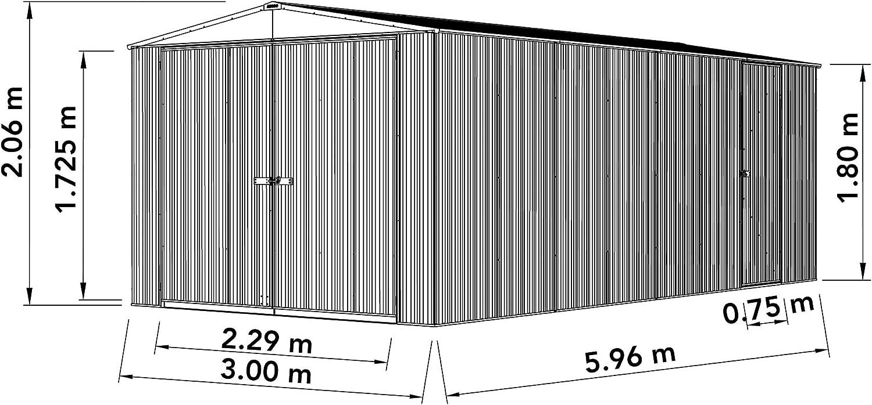 WALTONS EST Pale Eucalyptus from Waltons 1878 Absco 9ft 10in x 19ft 8in Metal Utility Workshop Apex Garden Storage Shed