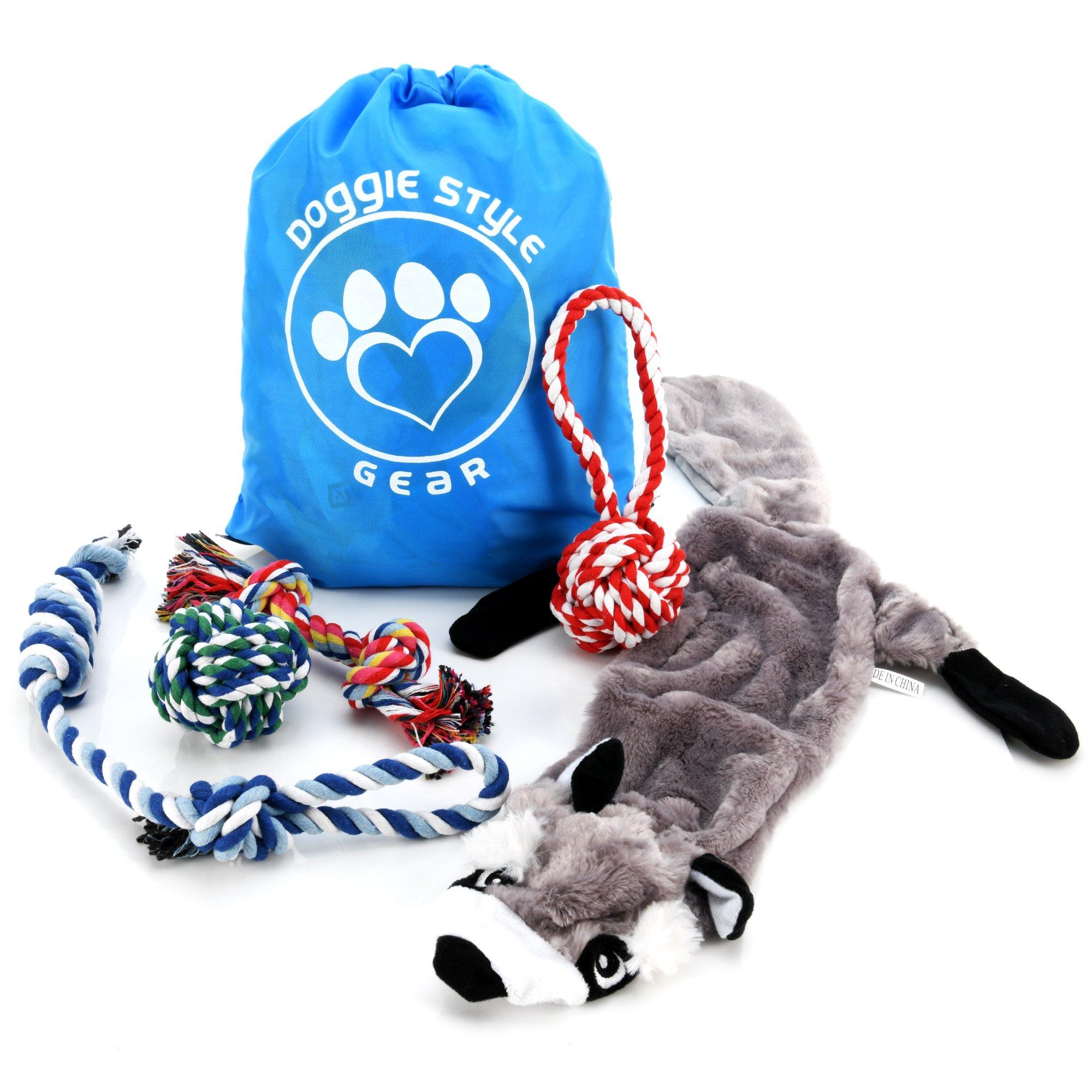 Dog Pet Rope Toys ◘ Tug-Of-War Playtime, 6 Pcs Includes Storage Bag