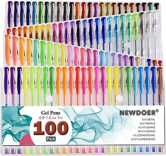 stylos classiques scrapbooking couleurs pastel Noblik Lot de 100 stylos /à encre gel pour livres de coloriage pour adultes dessin /écriture tourbillon fluo y compris paillettes m/étallis/ées