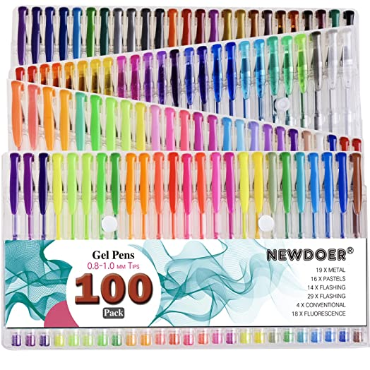 Newdoer 100 Colors Gel Pens Super Multi Pack Size