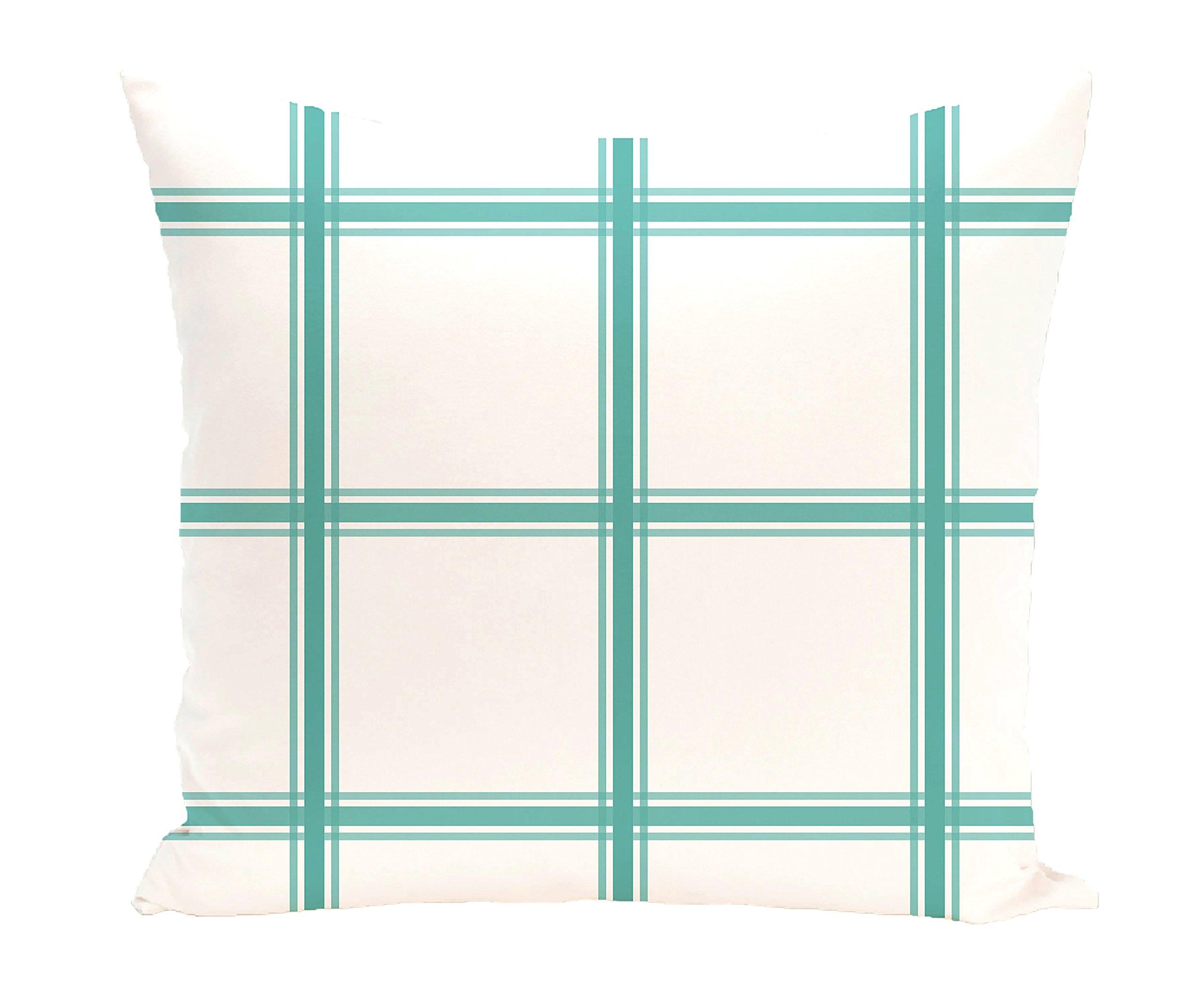 E by design PGN127GR1-26 Windowpane Plaid Geometric Print Pillow, Jade,Aqua