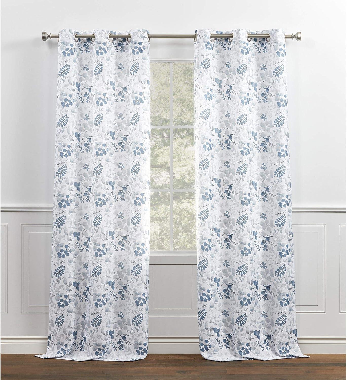 Amazon Com Chaps Fresh Meadow Botanical Print Textured Linen Look Grommet Top Curtain Panels 38x96 Blue Home Kitchen