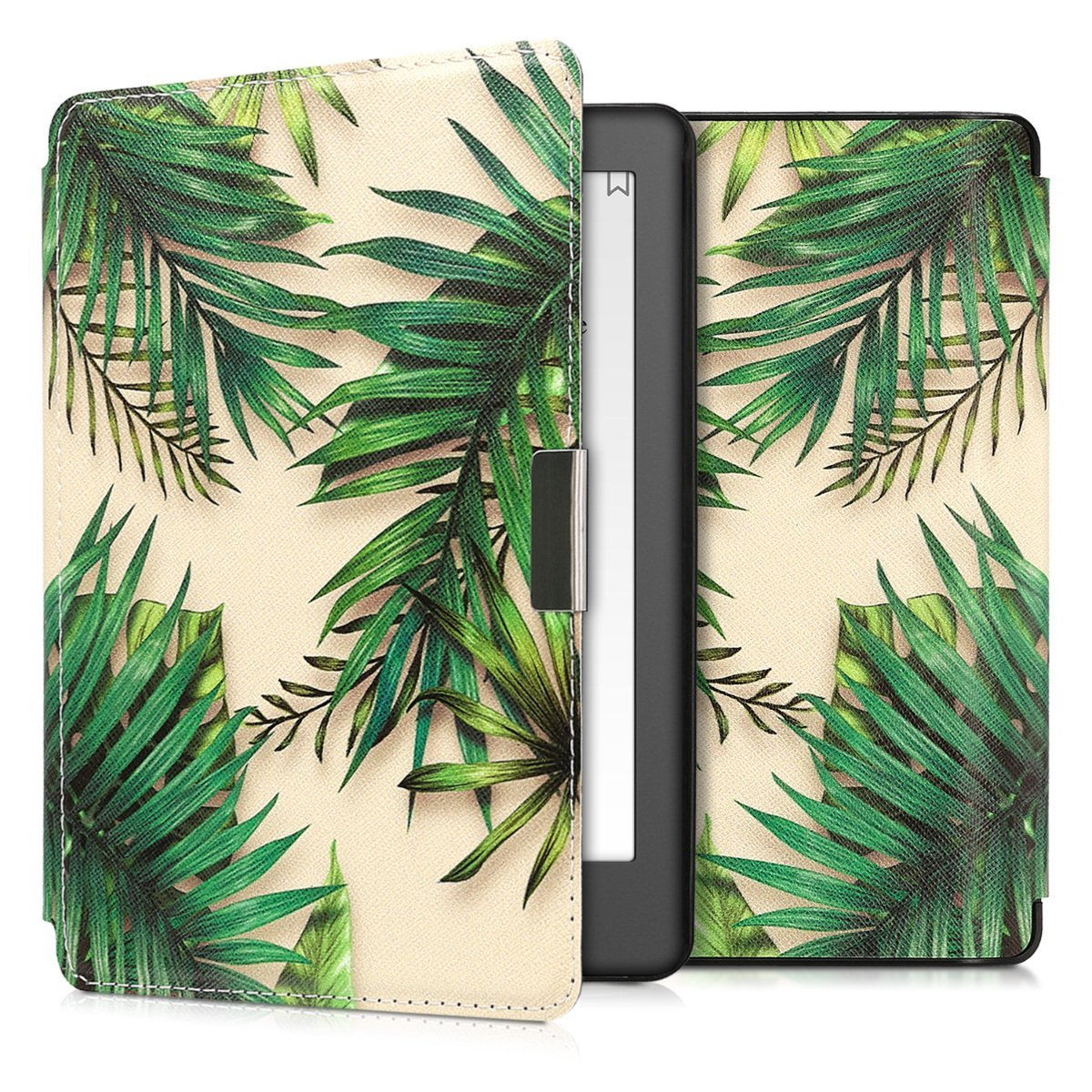 kwmobile Case for Kobo Aura Edition 2 - Book Style PU Leather Protective e-Reader Cover Folio Case - green beige