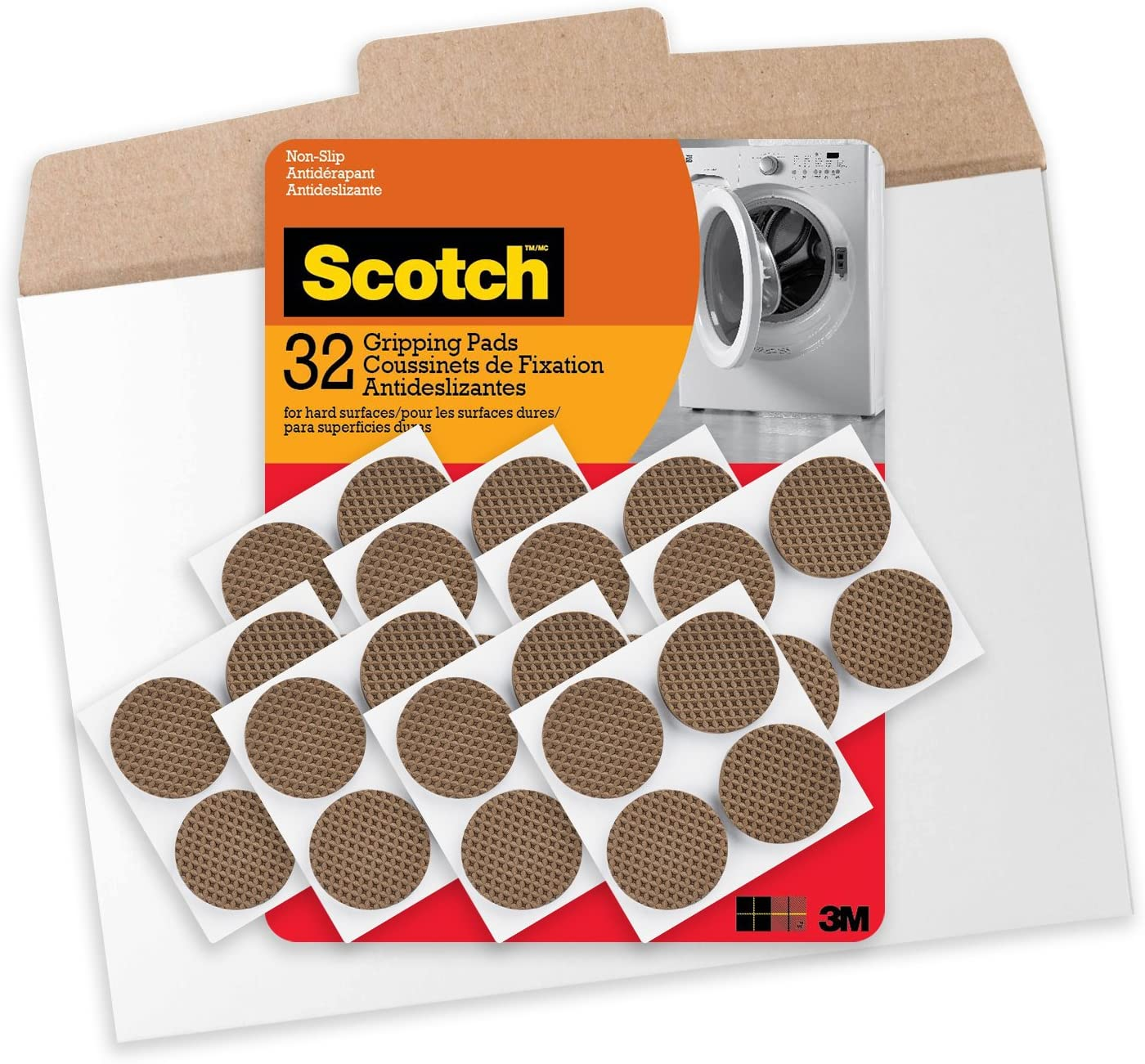Scotch 1.5 in Gripping Pads in Easy to Open Packaging, 32 Pads, Brown