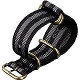 Bracelet de Montre ZULUDIVER® en Nylon, Militaire G10 NATO ZULU, Résistant et Solide, Qualité et Confort, Bond Classique, Noir et Gris, 20mm 22mm ou 24mm