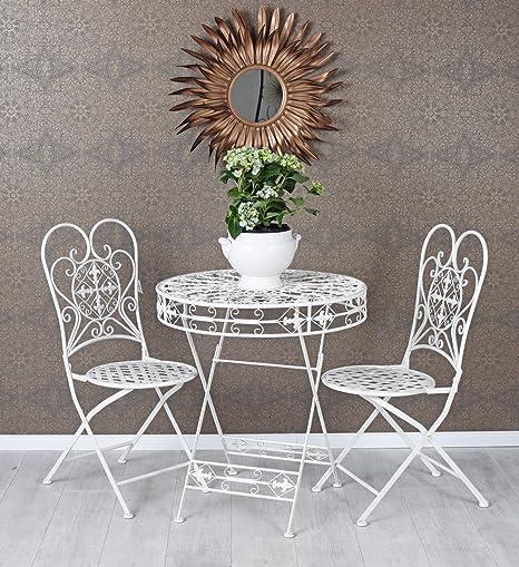 Vintage Gartentisch & zwei Stühle im Set shabby weiss