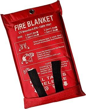 Lonnsaffe Mantas ignífugas Manta ignifuga Manta de Emergencia contra Incendios Manta de Supervivencia Cubierta de Seguridad Ideal para Cocina, ...
