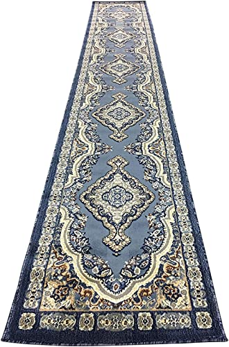 emirates Traditional Long Persian Runner Area Rug Light Blue Gray Beige Brown Design 520 31 Inch X15 Feet 8 Inch