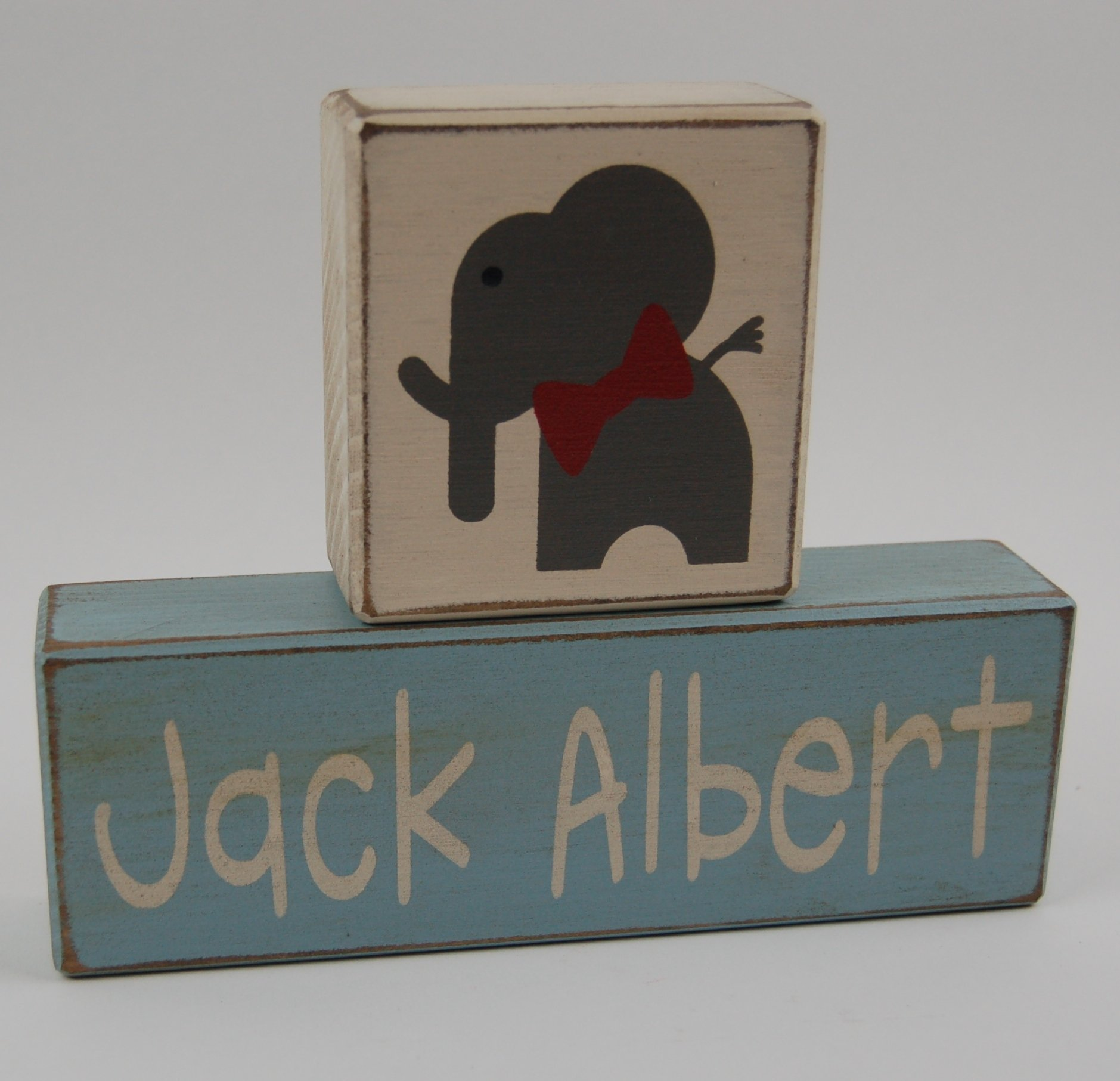 Elephant Little Man-Primitive Country Wood Stacking Sign Blocks-Personalized Custom Name and Birth Stats-Baby Gift-Birth Announcement-Baby-Boys/Girls Nursery Room Home Decor
