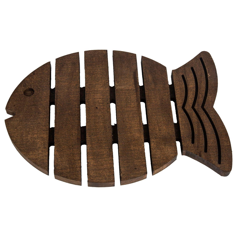 Wooden Fish Trivet | Teapot Coaster | For Hot Pots, Pans, Dishes | Kitchen, Table Decor, Accessory