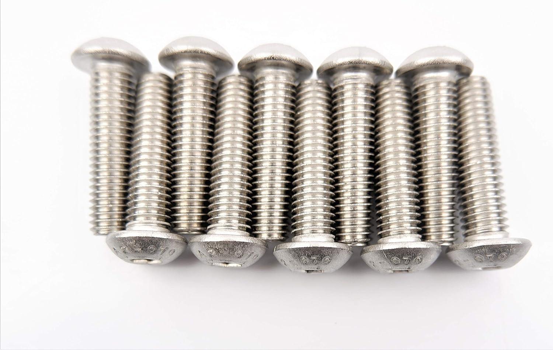 8 mm x 30 mm acero inoxidable A2 Tornillo de m/áquina de bot/ón hexagonal M8 x 30 paquete de 10