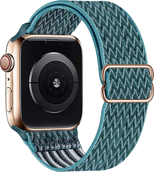 OHCBOOGIE Stretchy Solo Loop Strap Compatible with Apple Watch Bands 38mm 40mm 42mm 44mm ,Adjustable Stretch Braided Sport Elastics Weave Nylon Women Men Wristband Compatible with iWatch Series 6/5/4/3/2/1 SE,Celestial Teal,42/44mm