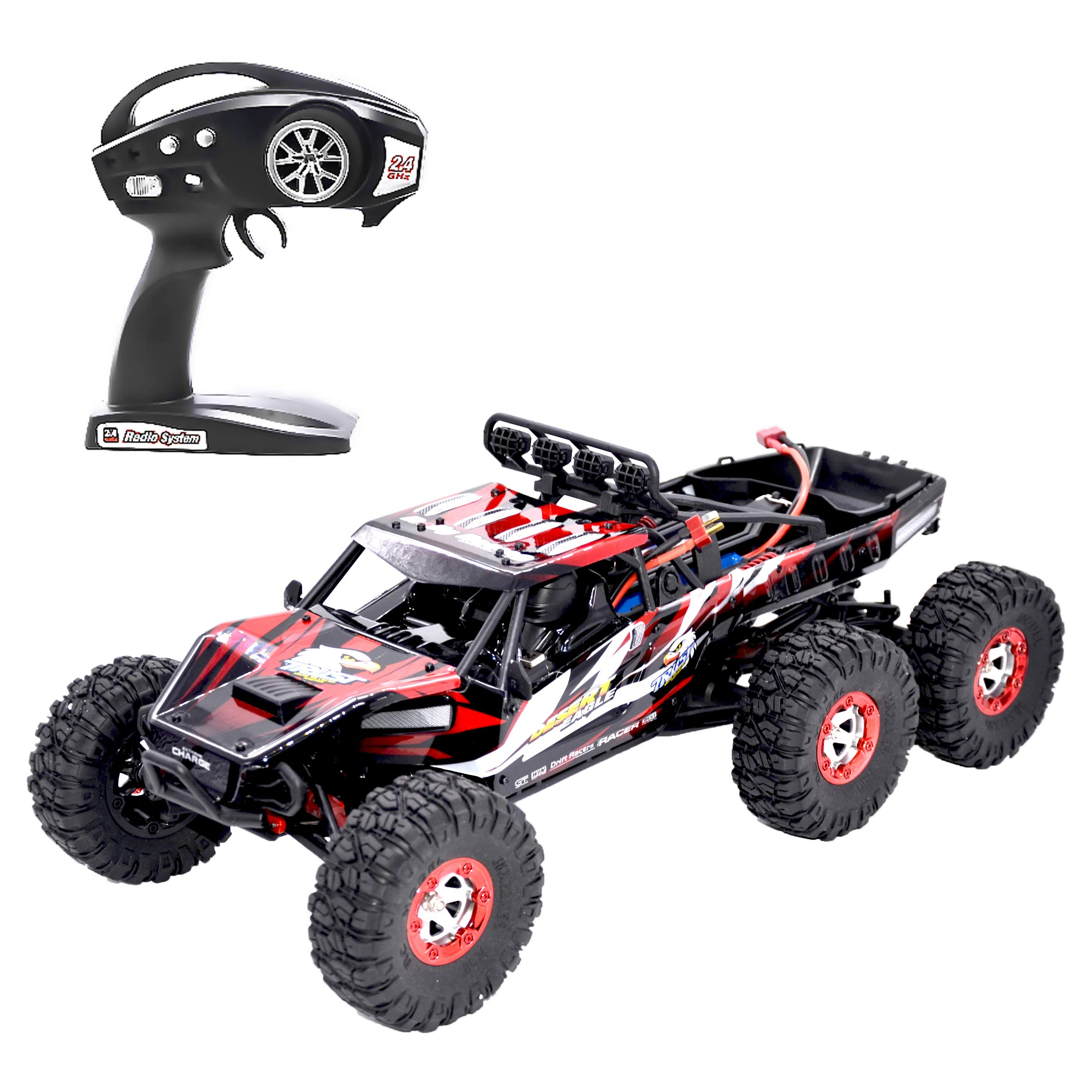 Aiitoy Fast RC Cars, 6WD 60km/h Brushless 1:12 Scale 2.4Ghz Radio Remote Control Truck, Electric Monster High Speed Off-Road Rock Crawler for Adults and Kids (FY06), Red