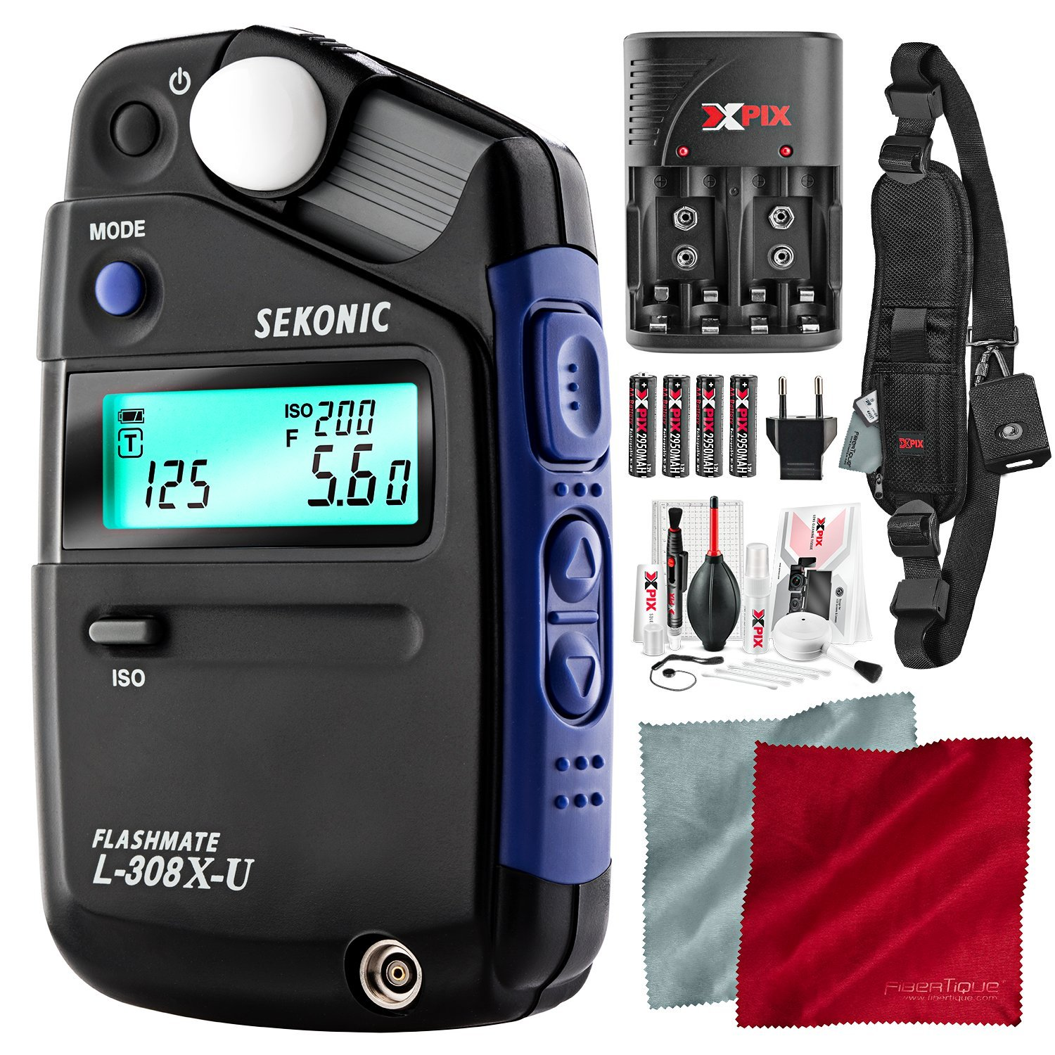 Sekonic L-308X-U Flashmate Light Meter with Xpix Professional Camera Strap, Camera Lens Cleaning Kit, and Deluxe Bundle