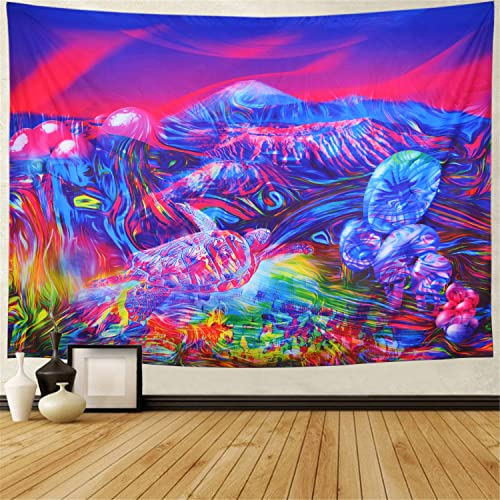 Heopapin Trippy Mountain Tapestry Psychedelic Mushrooms Tapestry Fantasy Tortoise Abstract Art Colorful Mountain Wall Hanging Tapestry for Bedroom Dorm XLarge, Tortoise Mountain