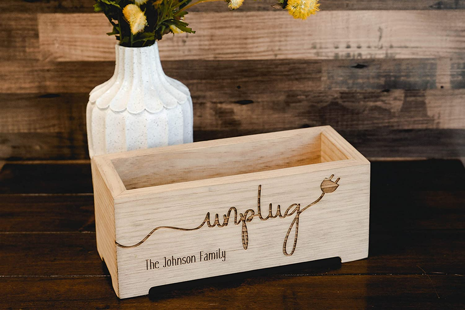 Personalized Organizer Box for iPad Double Wood Box for Two Phone Unplug Box Rustic Family Cell Phone Holder Premium Unplug Box Electronics