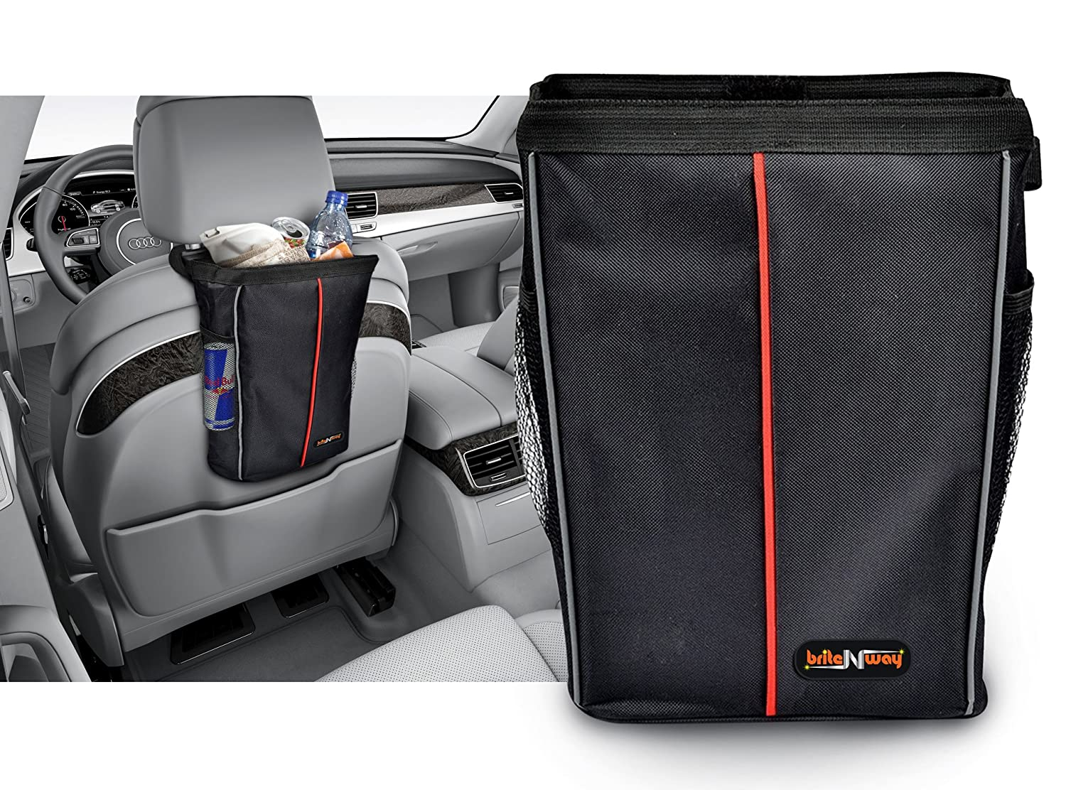 Car Garbage Bag - Auto Leakproof Litter Bin - Stylish Designed - High Interior Care with Washable Wipe-clean Liner Surface - Perfect To Hold On your Cars Seat Headrest  or Floor -A Must-have Accessory BriteNway BRTN00107