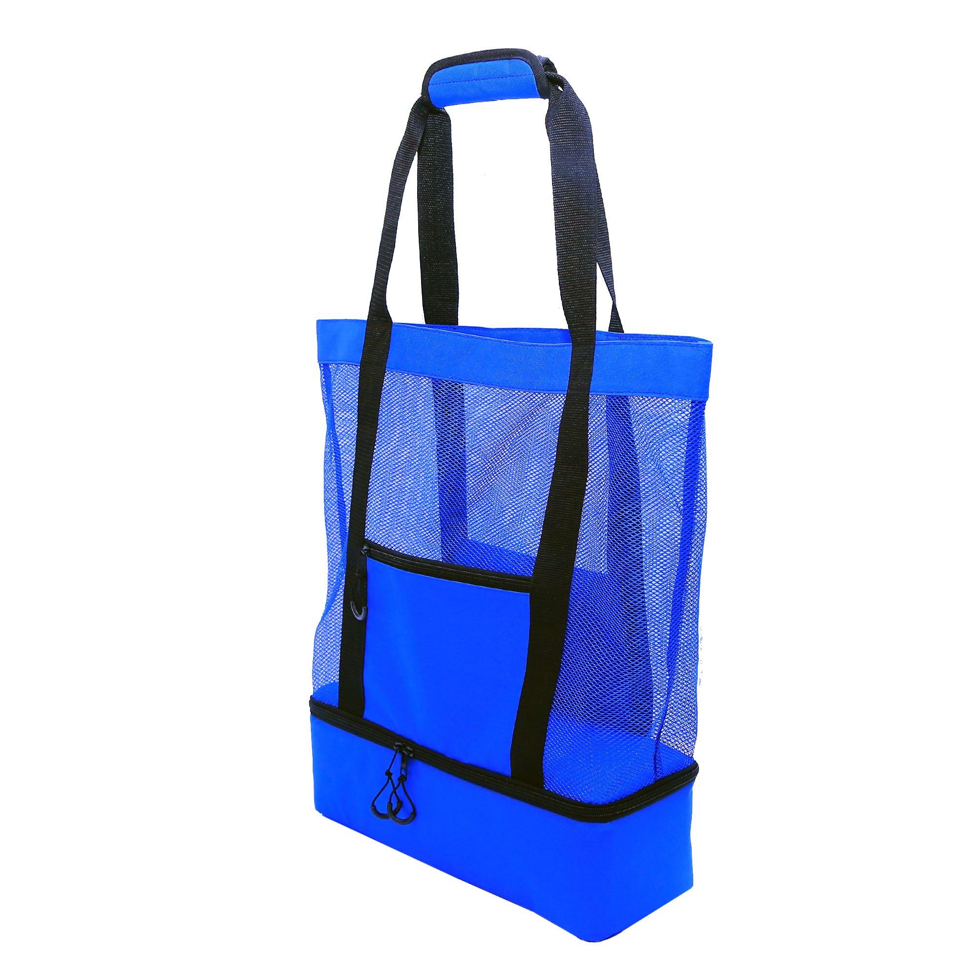 JU&JI's Beach Tote Bags – 2-in-1 Design – Mesh Bag & Built-in Picnic Cooler Compartment – Big or Extra Large Cooler Beach Bags – Padded Handle, Waterproof Zipper & Heavy-Duty Build by Ju&Ji (Image #5)