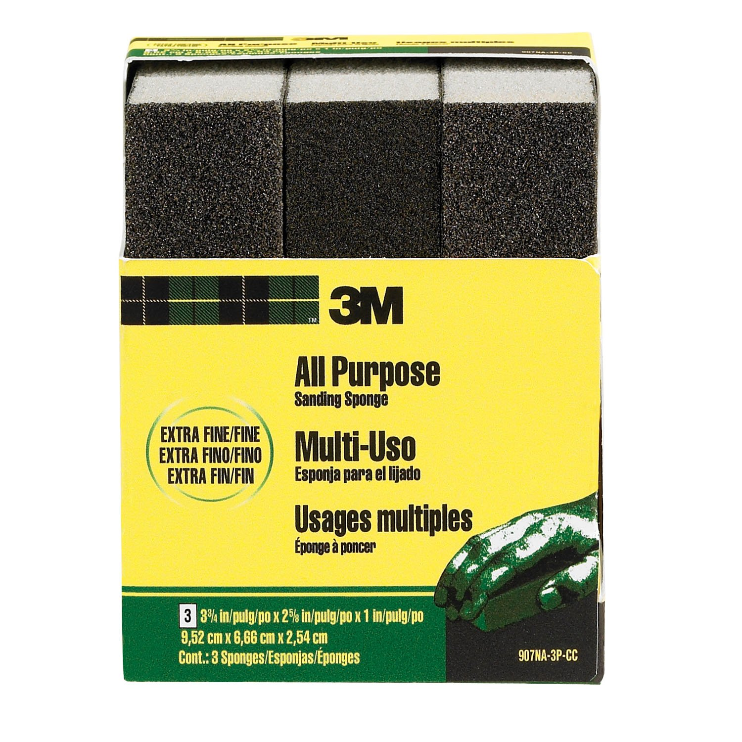 3.75-Inch by 2.625-Inch by 1-Inch Extra Fine 3M Sanding Sponge 3-Pack 3M CHIMD 907NA-3P-CC