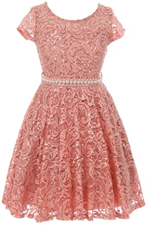 03835961d Little Girls Cap Sleeve Glitter Lace Pearl Holiday Junior Bridesmaid Flower  Girl Dress USA Rose 2