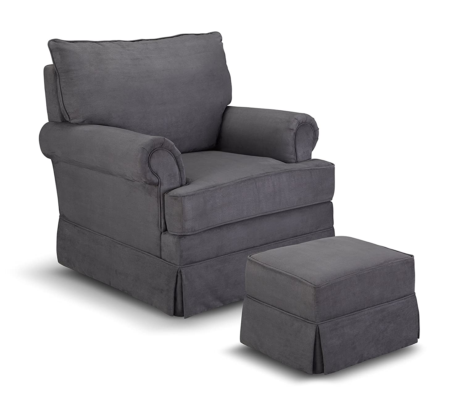 Amazon.com: Thomasville Kids Grand Royale Upholstered Swivel Glider And  Ottoman, Gray: Baby