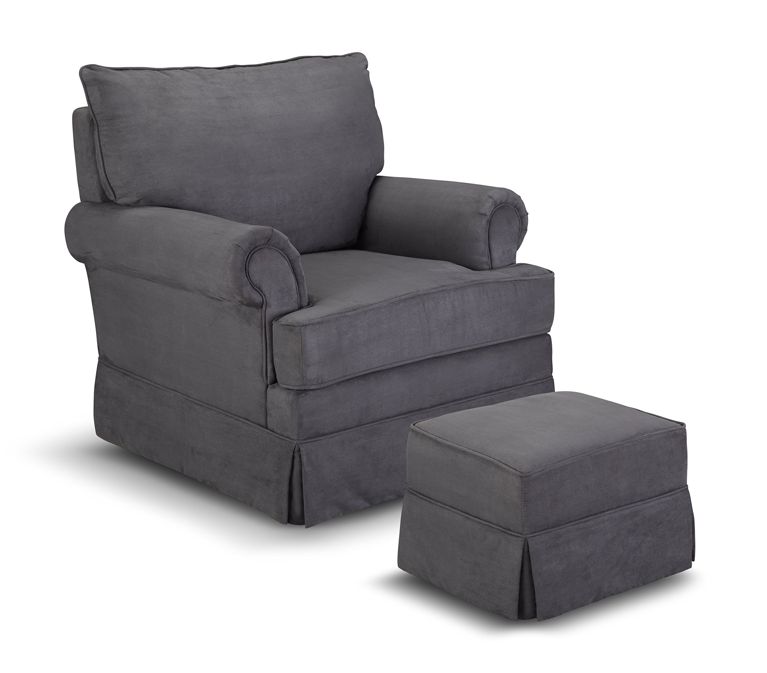 Thomasville Kids Grand Royale Upholstered Swivel Glider and Ottoman, Gray